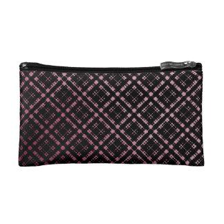 Modern Plaid Pink Black Netted Ombra Makeup Bag