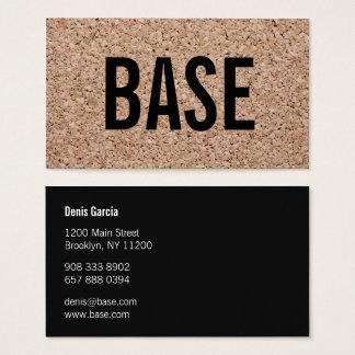 Modern plain black cool cork texture art minimal business card