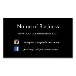 Modern Plain Black Social Media Websites Business Card Magnet