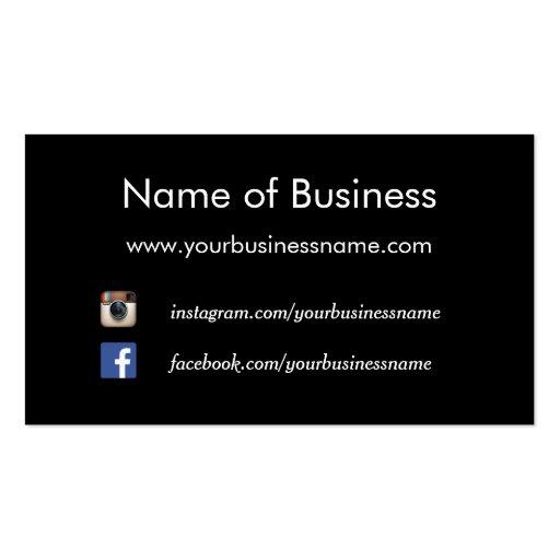 Modern Plain Black Social Media Websites Double-sided Standard Business Cards (pack Of 100)