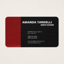 Modern Plain Elegant Minimalist Red Black Business Card