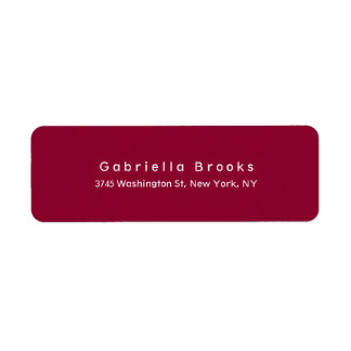 Modern Plain Elegant Unique Dark Red Color Label