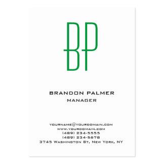 Modern plain minimalist white green monogram large business card