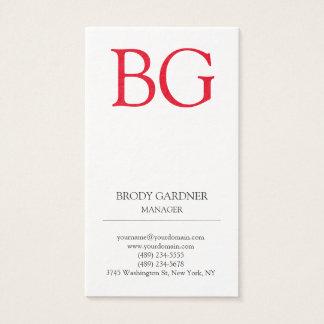 Modern plain minimalist white red monogram business card