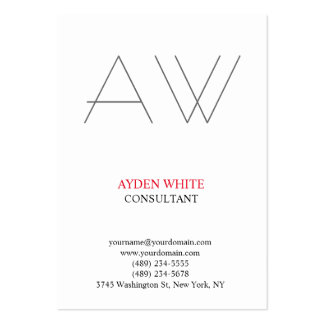 Modern plain simple black white red grey monogram large business card