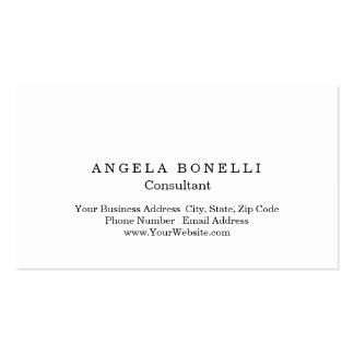 Modern Plain Simple White Minimalist Consultant Business Card