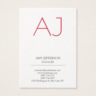 Modern plain vertical Stylish white red monogram Business Card