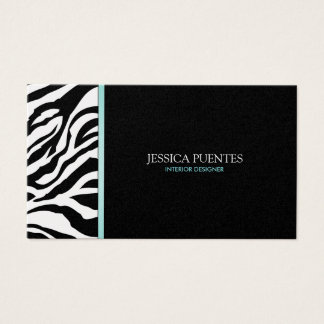 Modern Platinum and Black Zebra Stripes with blue Business Card