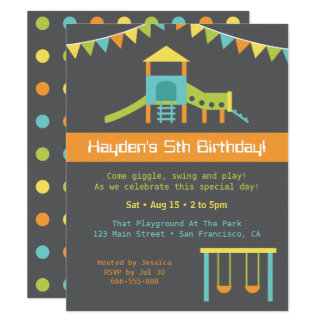 Modern Playground Kids Birthday Party Invitation