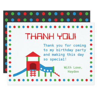 Modern Playground Kids Birthday Thank You Note Card