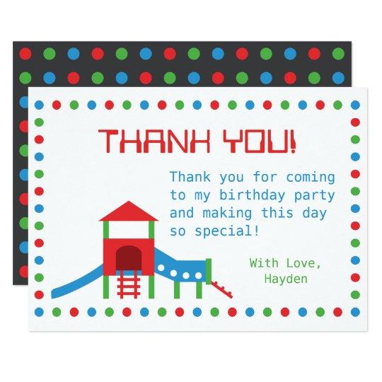 Free Children S Birthday Thank You Notes ~ Modern playground kids birthday thank you note card zazzle