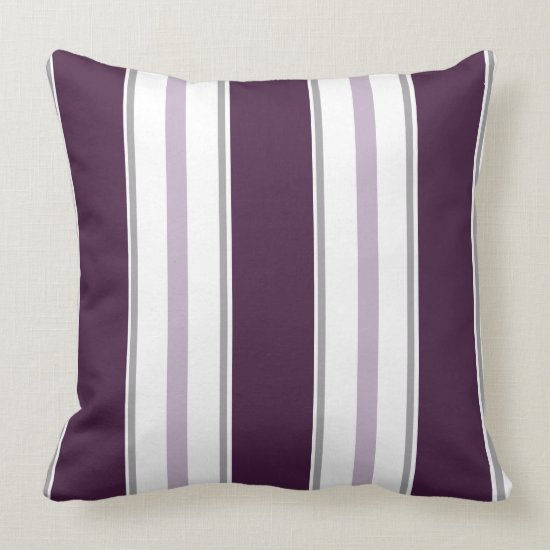 Modern Plum Lavender Gray White Stripes  | Throw Pillow