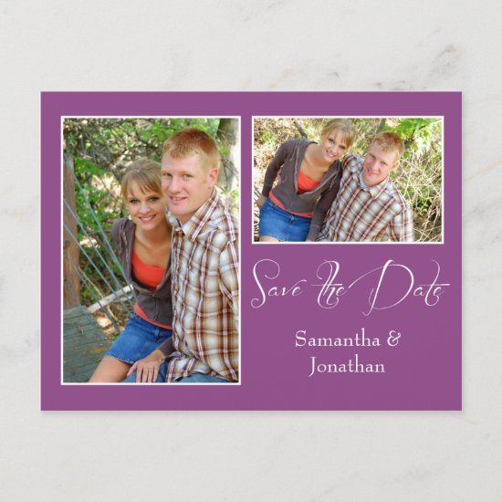 Modern Plum Photo Collage Save The Date Announcement Postcard