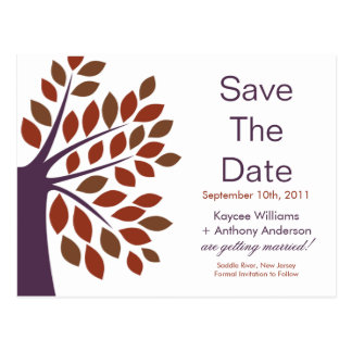 Modern Plum Tree Save The Date POST CARD!