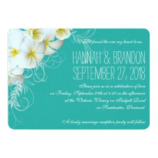 Modern Plumeria Lagoon Custom Wedding Invitations