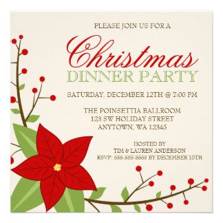 Modern Poinsettia Christmas Holiday Dinner Party Custom Invitation