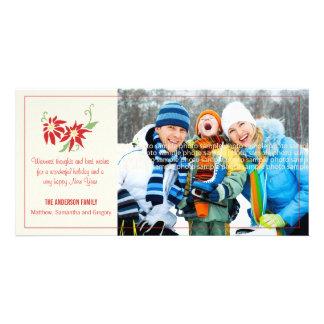 Modern Poinsettia Holiday Photocard Photo Card