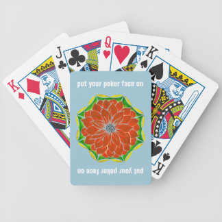 MODERN POINSETTIA in ORANGE Bicycle Playing Cards