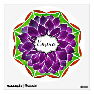 MODERN POINSETTIA in PURPLE DRAMA Wall Decal
