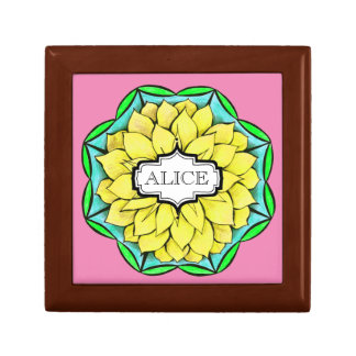 MODERN POINSETTIA in YELLOW Jewelry Box