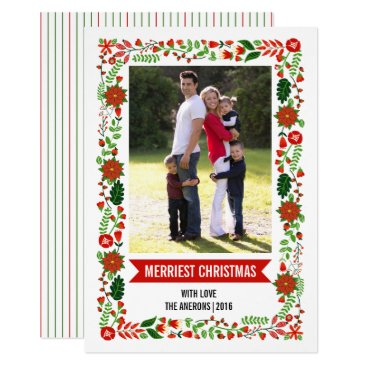 Christmas Themed Modern poinsettias red and green Christmas photo Card