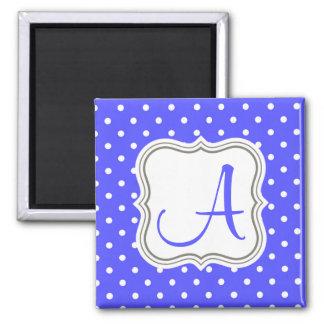 Modern polka dot monogram initial name blue magnet
