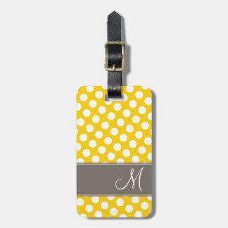 Modern Polka Dot Pattern with Monogram Luggage Tag