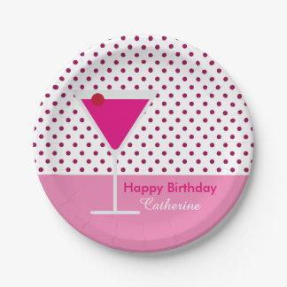 Modern Polka Dot Pink Martini Custom Birthday Paper Plate