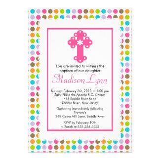 Modern Polka Dots Baby Girl Baptism Christening Personalized Invites