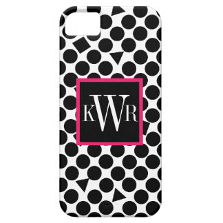 Modern Polka dots Black and Berry Pink iPhone SE/5/5s Case