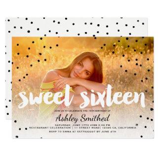 Modern polka dots boho photo typography sweet 16 card