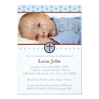 Modern Polka Dots Custom Baptism Invitations