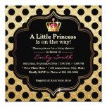 Modern Polka Dots Little Princess Girl Baby Shower 5.25x5.25 Square Paper Invitation Card