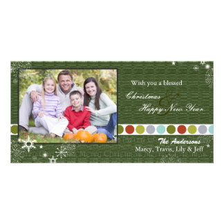Modern Polka Dots & Snowflakes Christmas Photo Card