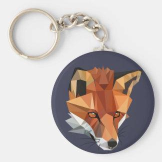 Modern Polygon Fox Custom Keychain