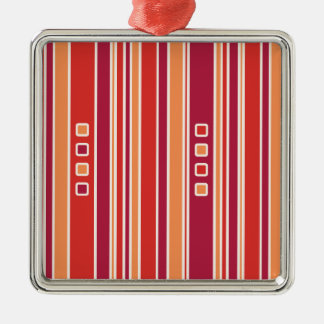 Modern Pomegranate Stripes & Boxes Metal Ornament