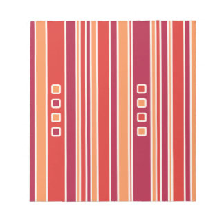 Modern Pomegranate Stripes & Boxes Notepad