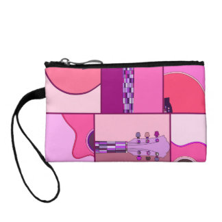 Modern Pop Art Acoustic Guitar in Pink and Purple Coin Purse