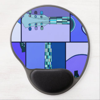 Modern Pop Art Acoustic Guitar in Shades of Blue Gel Mouse Pads