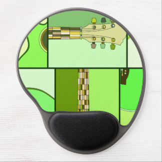 Modern Pop Art Acoustic Guitar in Shades of Green Gel Mouse Mat