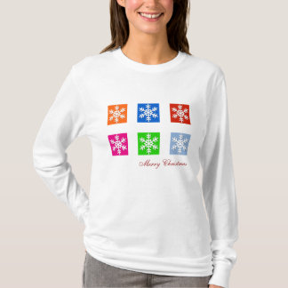 Modern Pop Art Color Snowflake Christmas T-Shirt