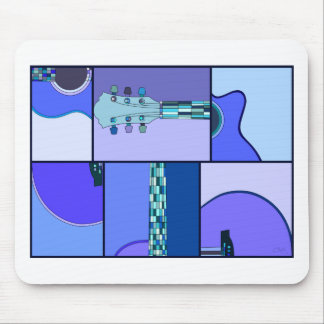 Modern Pop Art Guitar in Shades of Blue Mouse Pad