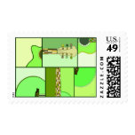 Modern Pop Art Guitar in Shades of Green Postage Stamps