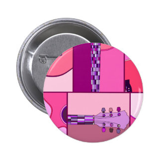 Modern Pop Art Guitar in Shades of Pink and Purple 2 Inch Round Button