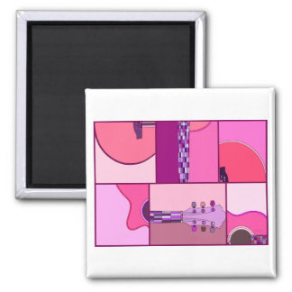 Modern Pop Art Guitar in Shades of Pink and Purple Magnet