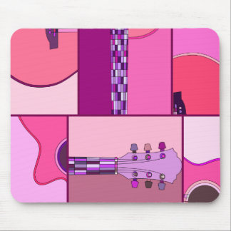 Modern Pop Art Guitar in Shades of Pink and Purple Mouse Pad