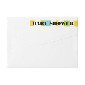 Modern Pop Bright Stripes Baby Shower Invitation Wrap Around Label