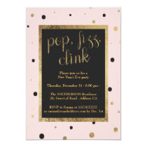 Modern pop fizz clink confetti New Years Eve Party Card