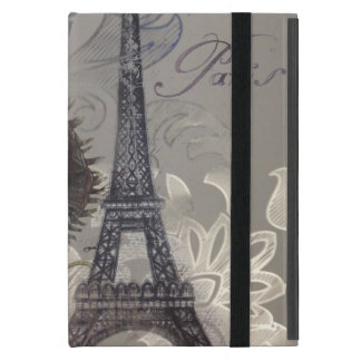 modern poppy flower damask paris eiffel tower covers for iPad mini