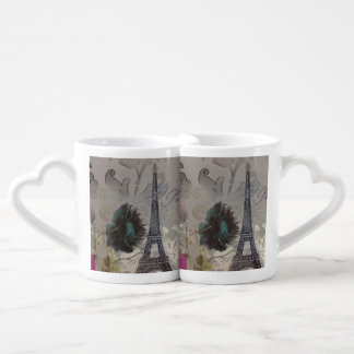 modern poppy flower damask paris eiffel tower couples' coffee mug set